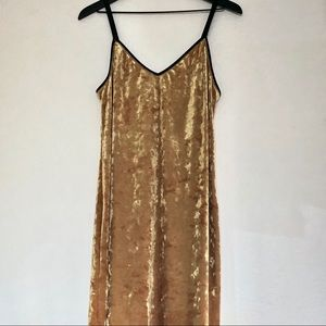 Topshop midi gold velvet slip dress